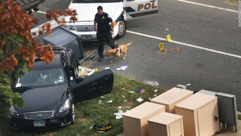 Police inspect a black Infinity sedan which Miriam Carey drove during the chase. Carey's year-old baby, who was a passenger in the car, survived unhurt. Authorities placed the girl with a foster family, a spokesman for Washington's Child and Family Services Agency told CNN. During the chase, no shots were fired from the Infinity, CNN's Deborah Feyerick reported. All shots were from law enforcement directed at the passenger side of the car.