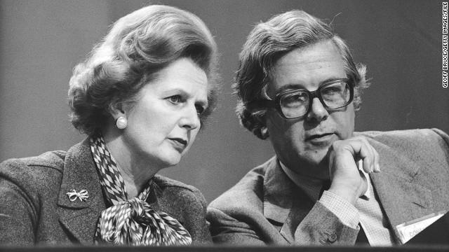 Former British Prime Minister Margaret Thatcher and Geoffrey Howe