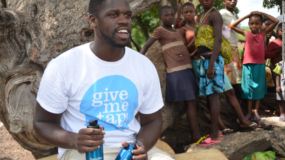 "Social entrepreneur Edwin Broni-Mensah launched GiveMeTap -- a free water refill network in the UK.<br />""For every bottle that we sell, we are able to help another person get access to clean drinking water,"" he says."