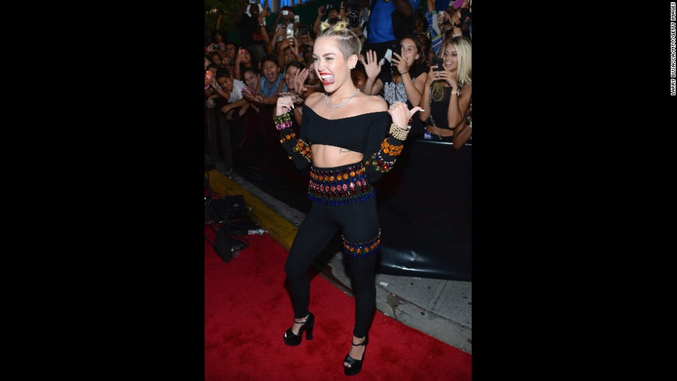 Cyrus works the red carpet at the 2013 MTV Video Music Awards at the Barclays Center in Brooklyn, New York, on August 25.