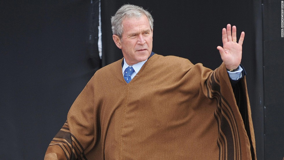 "Say what you want, the man knew his way around a poncho. The Andean body drapes at APEC 2008 in Lima, Peru, were made from <a href=""http://cnsnews.com/news/article/apec-leaders-don-andean-ponchos-group-photo"" target=""_blank"">baby alpaca shearings</a>."