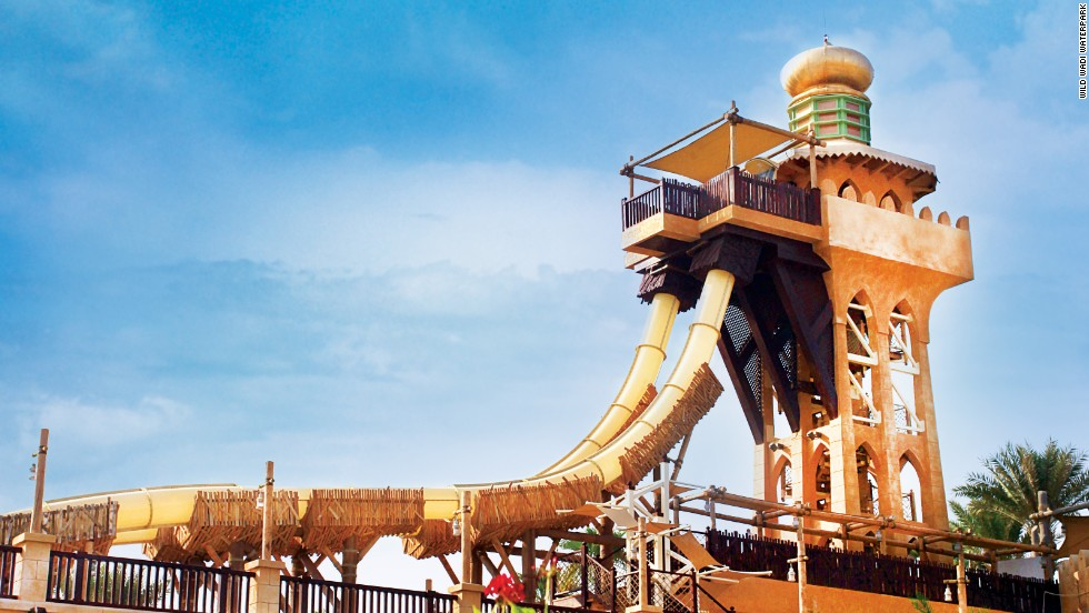 The imaginatively-spelled Jumeirah Sceirah at Wild Wadi, one of four water parks in Dubai -- scary not just because of slide's near-vertical drop but the 600 gallons of water a minute it uses.