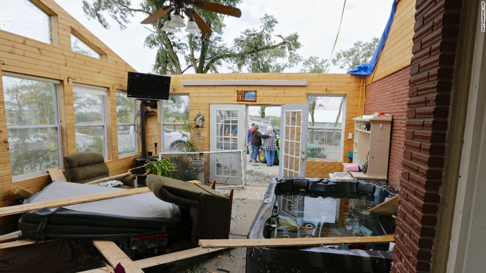 Vicki Kempkes' home is seen roofless on October 4 after a tornado went through Bennet, Nebraska.