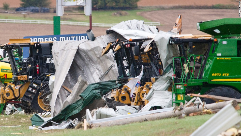 Farm equipment sits damaged on October 5 after a tornado passed through Wayne, Nebraska.