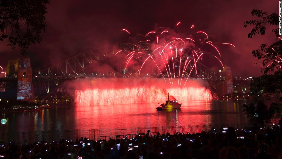 Fireworks explode over Sydney Harbor Bridge on October 5 as part of the celebration.