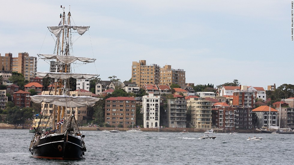 A tall ship makes its way through Sydney Harbor on October 5.