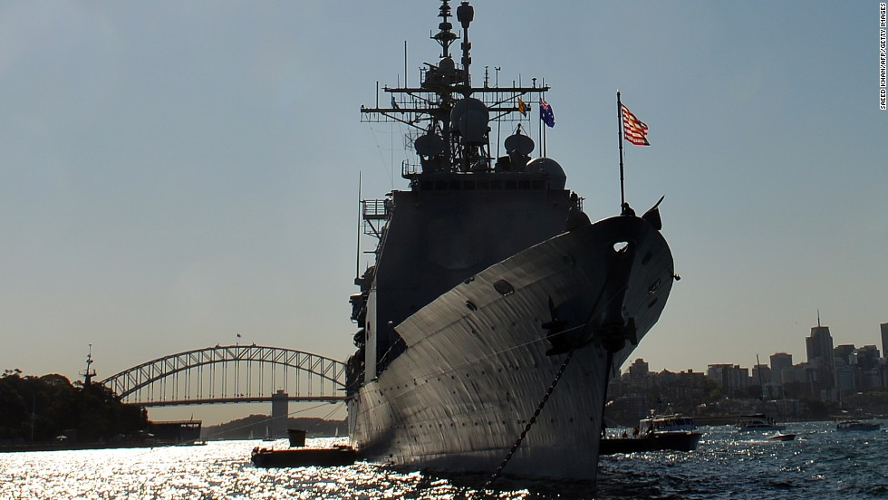 The U.S. Navy cruiser USS Chosin docks in Sydney Harbor on October 4.