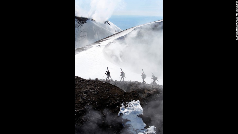 Fire and ice -- volcanic Mount Etna has both in abundance.