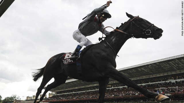 Jockey Thierry Jarnet celebrates after filly Treve romps to victory at the Prix de l'Arc de Triomphe at Longchamp.
