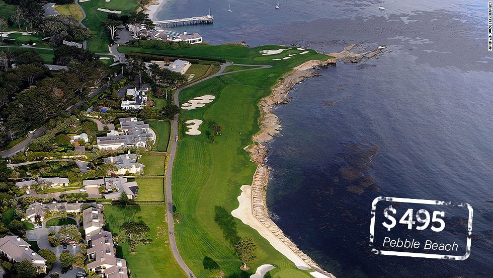 "<a href=""http://www.pebblebeach.com/"" target=""_blank""><strong>Pebble Beach Golf Links<strong></a></strong>, California</strong>: Probably the most famous links course outside Scotland and <a href=""http://www.golfdigest.com/golf-courses/2013-02/100-greatest-public-courses"" target=""_blank"">No.1</a> in Golf Digest's list of greatest American public courses. Half of Pebble Beach's holes sit alongside the Pacific Ocean including the par-three 17th where <a href=""http://sportsillustrated.cnn.com/vault/article/magazine/MAG1125647/"">Tom Watson famously chipped in </a>on his way to winning the 1982 U.S. Open. The 543-yard par five 18th (pictured) is one of the greatest closing holes in all of golf."