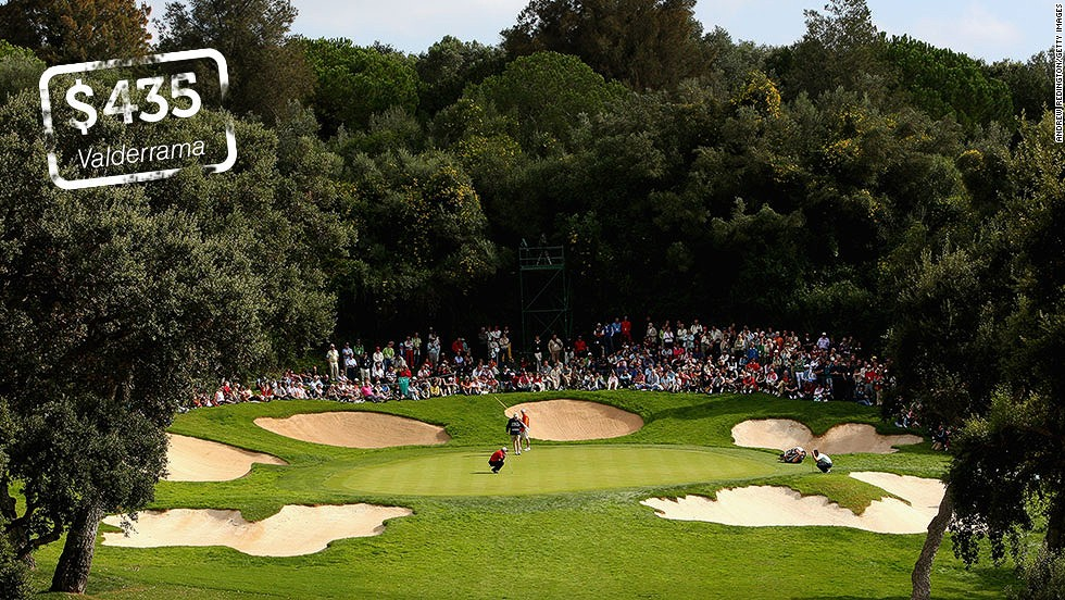 "<strong>Valderrama, Sotogrande, Spain</strong>: Designed by American architect Robert Trent Jones, <a href=""http://www.valderrama.com/"" target=""_blank"">Valderrama</a> is arguably the European continent's most famous golf club. The 6,990-yard course has hosted European Tour events and was the venue for the 1997 Ryder Cup -- the first time the biennial match between Europe and the U.S. was played on continental Europe. A weekend round currently costs €320 ($435)."