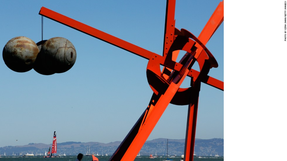 San Francisco's arts scene made for some thought-provoking sights. Here Mark Di Suvero's sculpture called Figolu is in the foreground.
