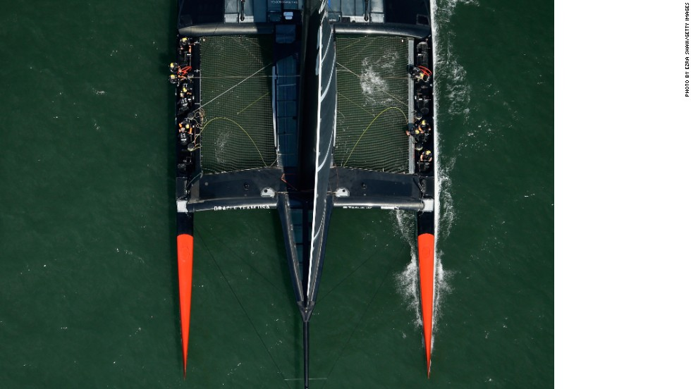 Captured from above the AC-72 catamarans - used here by Team USA - have a space age quality.