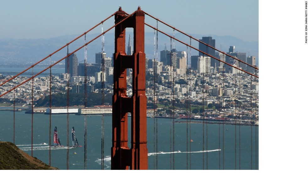 """""""This picture was taken from the Marin Headlands just north of the Golden Gate Bridge. There is one spot that you can position yourself so that the tip of the Transamerica Pyramid Center building is visible through the top portion of the Golden Gate Bridge,"""" said Shaw."""