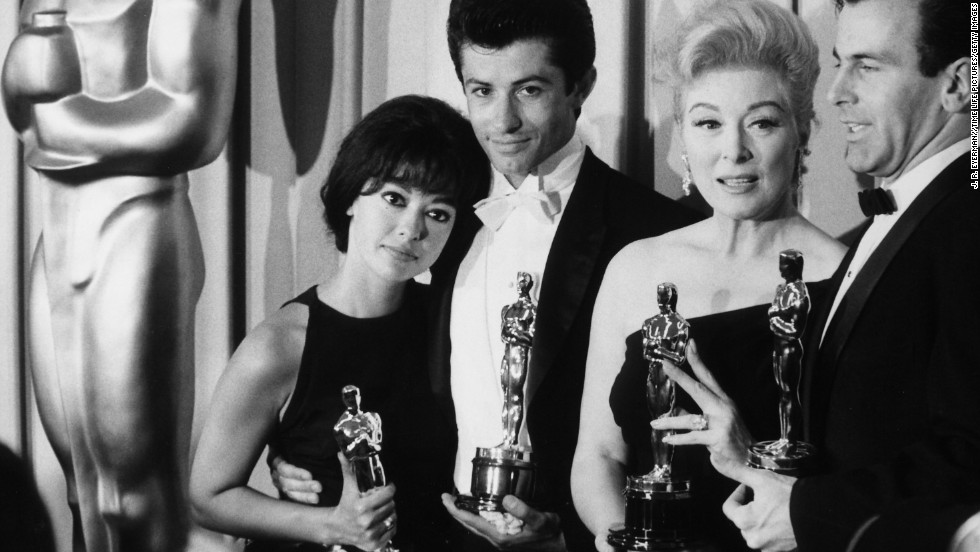 "Left to right: Moreno, George Chakiris, Greer Garson and Maximilian Schell at the Academy Awards in 1962. Moreno won the Oscar for best actress in a supporting role for her performance in ""West Side Story."" Moreno did not work for seven years in film after she won. ""That was what was so shocking to me. It really broke my heart,"" she told CNN. ""So, you know, I did what I always did before that. I went back to summer theater, and I did television, and regional theater."""