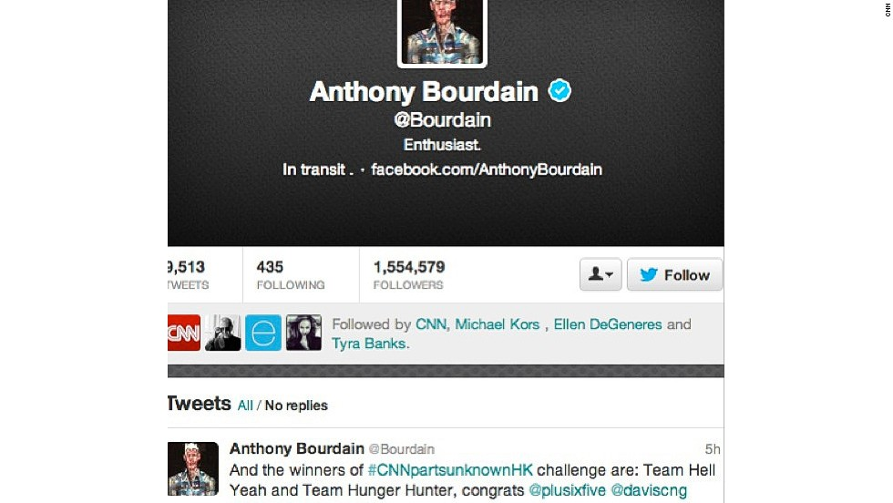 "Anthony Bourdain announced the winners via his <a href=""https://twitter.com/Bourdain"" target=""_blank"">Twitter account</a>."