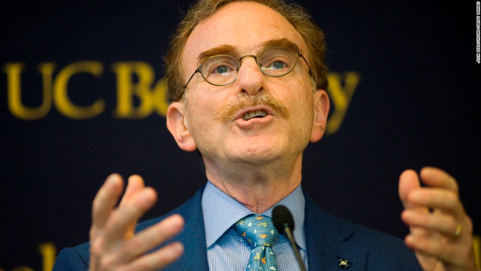 Randy Schekman speaks at the University of California, Berkeley, on October 7 after learning he and two others had won the Nobel Prize in medicine.