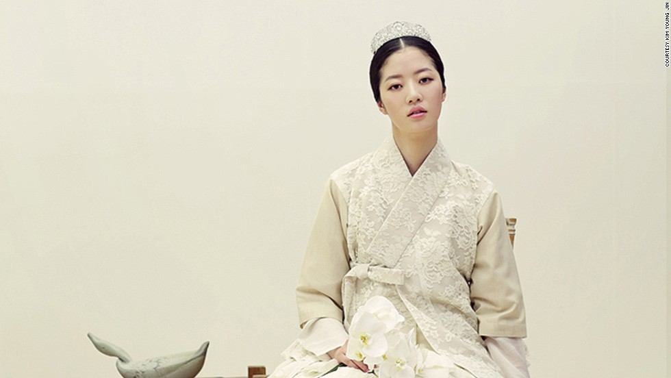 White hanbok isn't normally worn in Korean society, but designers are reintroducing the concept as modern bridal wear.