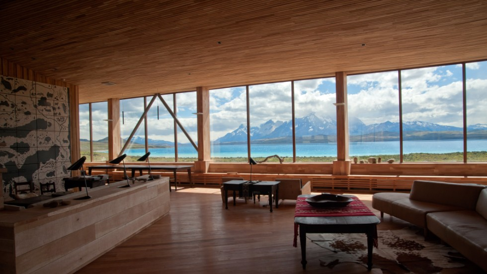 This hotel lobby has panoramic views of Torres del Paine Park and Lake Sarmiento.