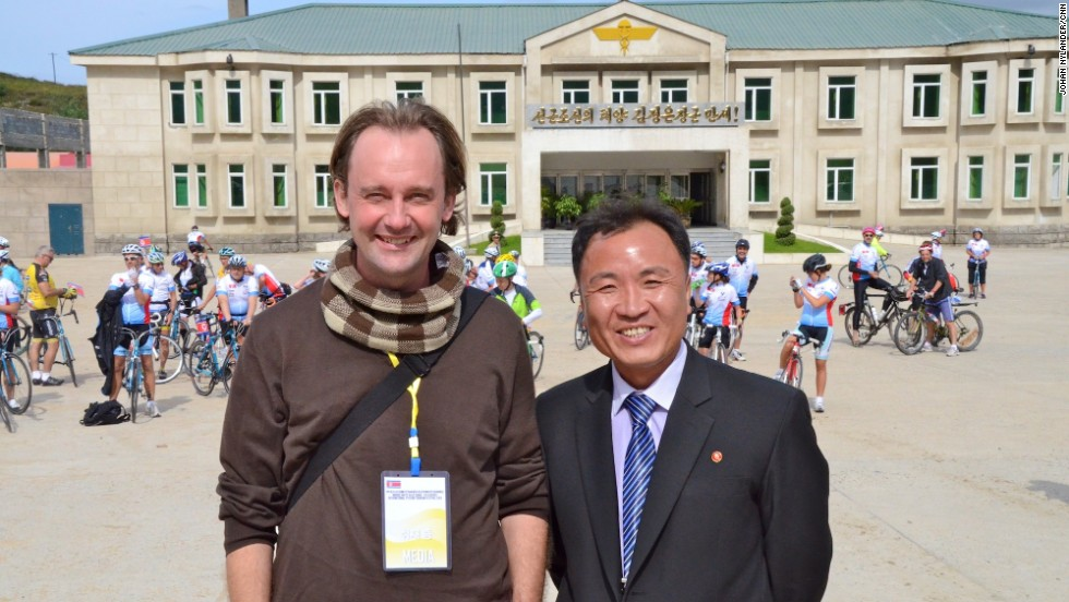 Journalist Johan Nylander and his North Korean guide, Ko Chang Ho. <em>EDITOR'S NOTE: This image was not among those deleted by North Korean officials. </em>