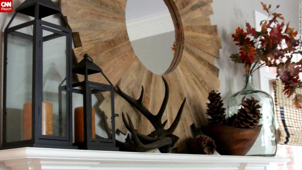 "<a href=""http://ireport.cnn.com/docs/DOC-1046186"">Emily Clark's</a> <a href=""http://emilyaclark.blogspot.com/"" target=""_blank"">fall mantel</a> includes rustic deer antlers."