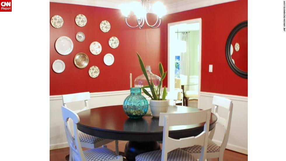 """<a href=""""http://ireport.cnn.com/docs/DOC-1040735"""">Jae Vinson's</a> dining room is <a href=""""http://www.designocd.com/"""" target=""""_blank"""">grounded by a cowhide rug</a>."""
