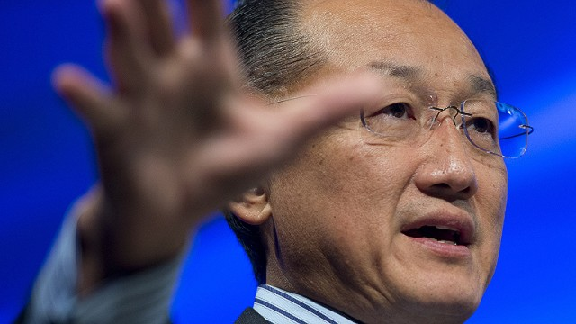 World Bank President Jim Yong Kim discusses poverty during a seminar discussion at World Bank Headquarters during the annual World Bank - International Monetary Fund (IMF) meetings in Washington, DC, October 9, 2013. AFP PHOTO / Saul LOEBSAUL LOEB/AFP/Getty Images