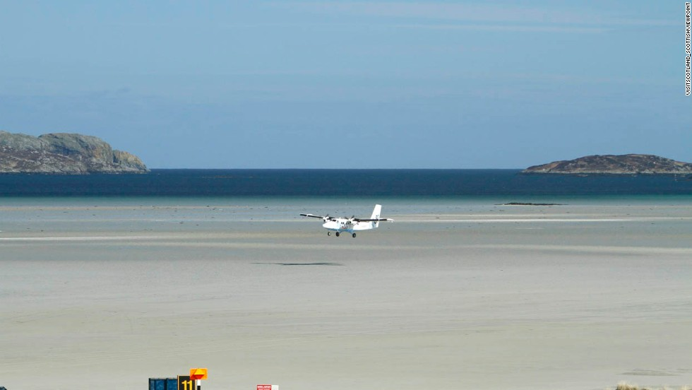 "When planes aren't using it, you can pick cockles on this tidal ""runway"" in the Scottish Outer Hebrides."
