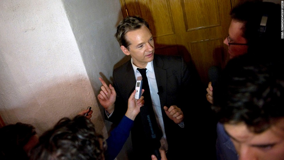 Assange attends a seminar at the Swedish Trade Union Confederation in Stockholm on August 14, 2010. Six days later, Swedish prosecutors issued a warrant for his arrest based on allegations of sexual assault from two women.