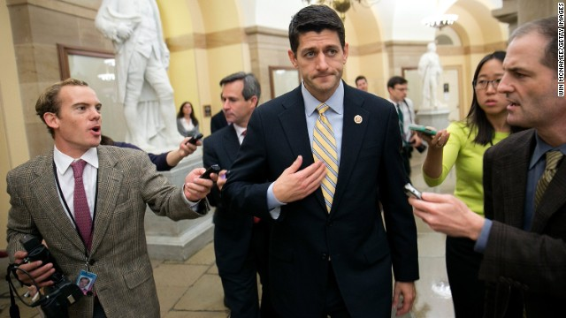 Rep. Paul Ryan, R-Wisconsin, is trailed by reporters after leaves a meeting of the House Republican Conference in the Capitol on Thursday.