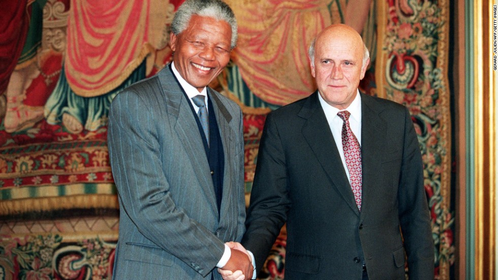 South African National Congress President Nelson Mandela, left, and South African President F.W. de Klerk shake hands in Oslo, Norway, on December 10, 1993, after being awarded the Nobel Peace Prize.