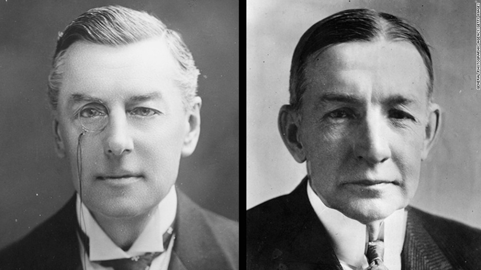 British statesman and Secretary of State for the Colonies Joseph Chamberlain, left, and American statesman and financier Charles Gates Dawes won the Nobel Peace Prize in 1925.