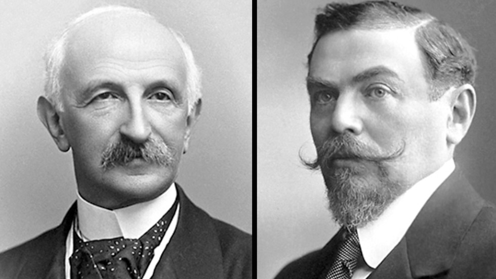 Tobias Michael Carel Asser, left, and Alfred Hermann Fried won the Nobel Peace Prize in 1911 for their efforts in promoting peace among nations.