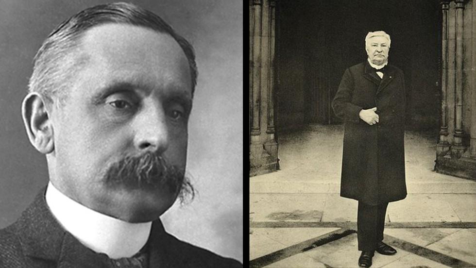 French diplomat Paul Henri Benjamin Balluet d'Estournelles de Constant, Baron de Constant de Rebecque, left, and Belgian Prime Minister Auguste Marie Francois Beernaert won the Nobel Peace Prize in 1909.