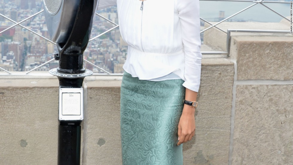 Freida Pinto takes in the view at the top of the Empire State Building on October 10.