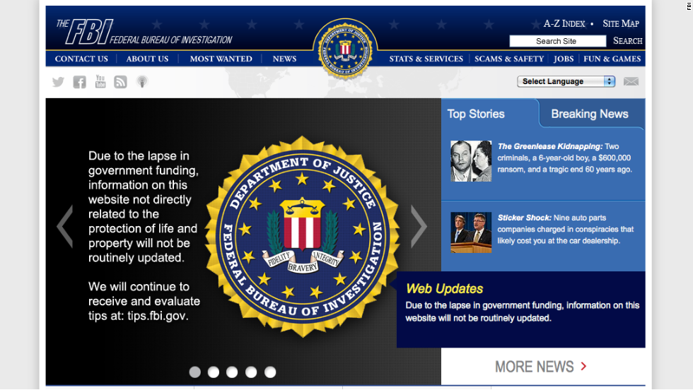 According to the FBI's website, information not directly related to the protection of life and property will not be routinely updated on the site.
