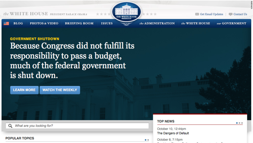 The impasse even takes center stage on the White House website.