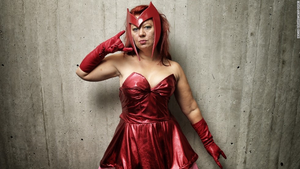 This fan poses as Marvel's Scarlet Witch from X-Men and the Avengers.