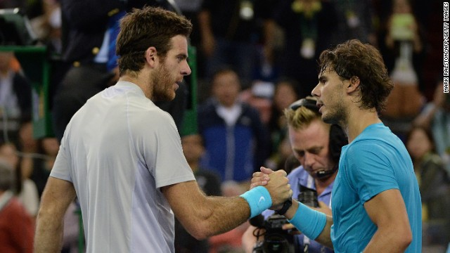 Juan Martin del Potro, left, wasn't broken in a 6-2 6-4 win over Rafael Nadal at the Shanghai Masters.