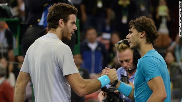 Juan Martin del Potro, left, wasn't broken in a 6-2 6-4 win over Rafael Nadal at the Shanghai Masters.