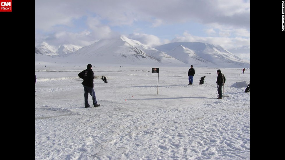 Golf outings are common in the business world, but they don't usually have polar bear spotters. Eric Maldonado got to go to the 2004 Drambuie Open when he worked for Bacardi USA. The tournament was played on ice in Svalbard, Norway, which is halfway between the Norwegian mainland and the North Pole.
