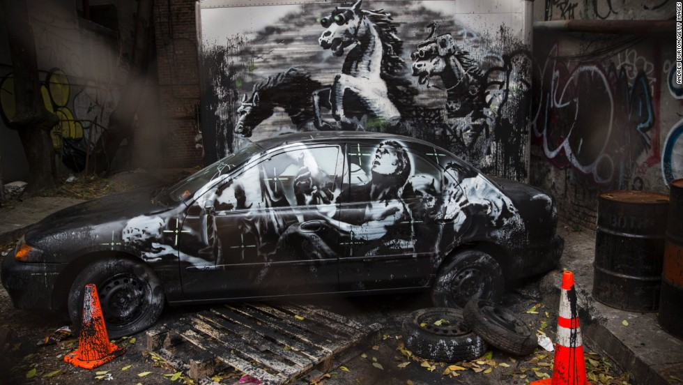 "This installation, seen in October 2013, on the Lower East Side of New York, depicts stampeding horses in night-vision goggles. Thought to be a commentary on the Iraq War, it also included <a href=""http://banksy.co.uk/2013/10/09/lower-east-side"" target=""_blank"">an audio soundtrack</a>."
