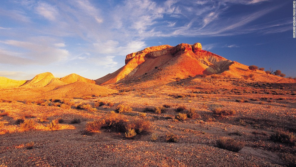 It's got small hills rather than a whopping great rock, but this desert region 50 kilometers southwest of Oodnadatta is spectacular. It's best seen at sunset when rocky outcrops glow red, pink and orange.