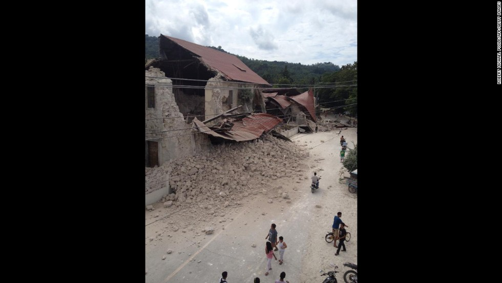 The Church of San Pedro in Loboc appears to be heavily damaged after the quake on October 15.