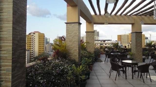 The Sapphire Hotel's roof terrace provides a break from the streets.