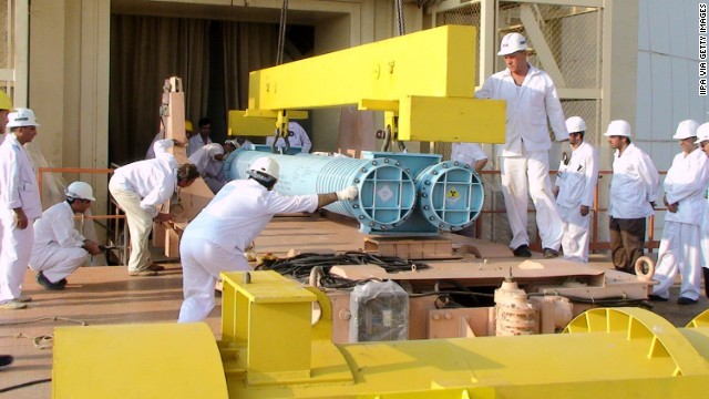 In this 2010 file photo, workers build a reactor at Iran's Bushehr nuclear power plant.