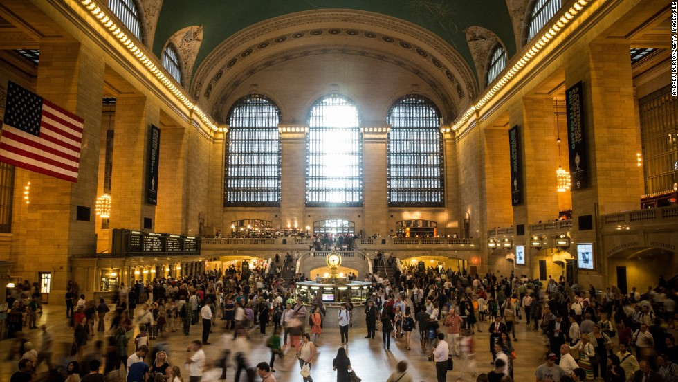 The stunning interior of Grand Central Terminal in New York. Built in 1913, the iconic station is decorated with winding marble staircases and gleaming chandeliers. Grand Central has also offered a picturesque backdrop to numerous Hollywood blockbusters over the years, including Carlito's Way and The Godfather.
