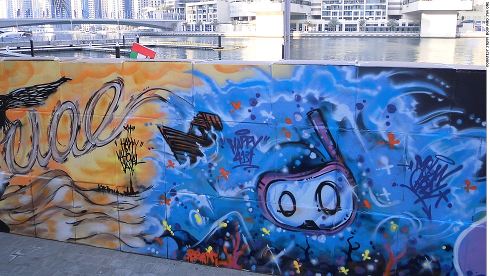 They are also part of a larger crew called Deep Crates Cartel. One of the members, Melan Choly, was commissioned  to do a piece on the Marina Walk for UAE National Day.