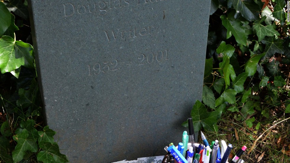 Sci-fi comic author Douglas Adams's Highgate gravestone is so basic it's nearly anonymous.