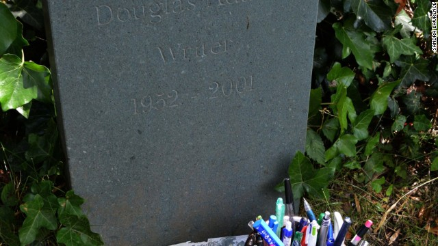 A writer's gravestone -- spare on words.